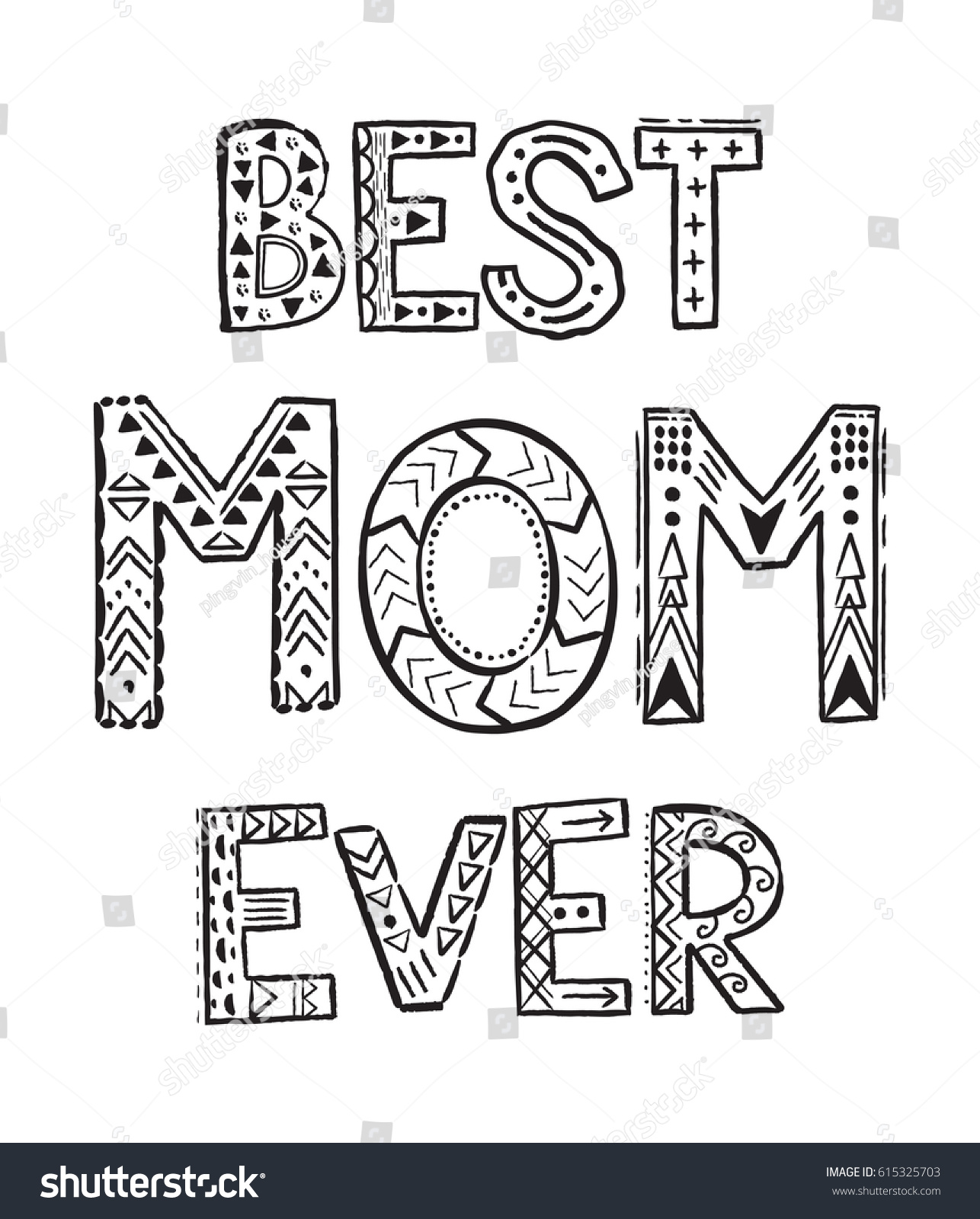 Best Mom Ever Coloring Pages Coloring Stock Vector (Royalty Free ...