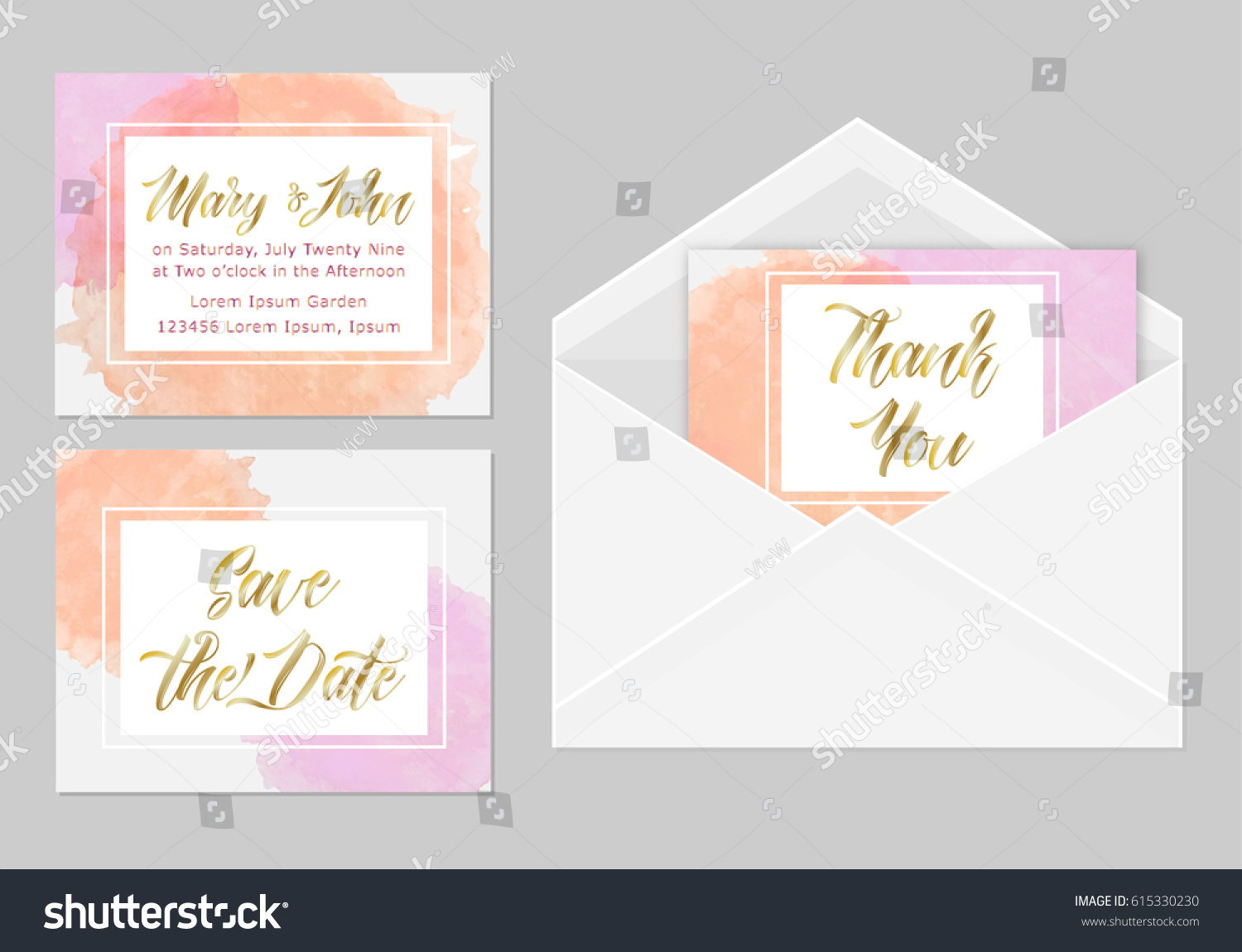 Wedding Invitation Set Three Cards Hand Stock Vector 615330230