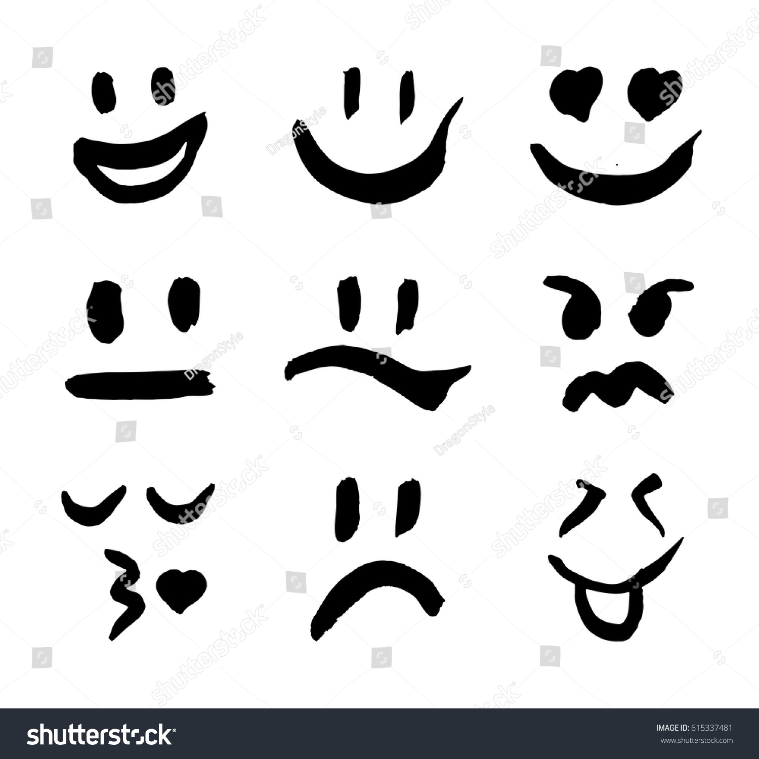 Set emoticons decoration your projects collection stock vector set of emoticons for decoration of your projects collection of unique hand drawn symbols biocorpaavc Gallery