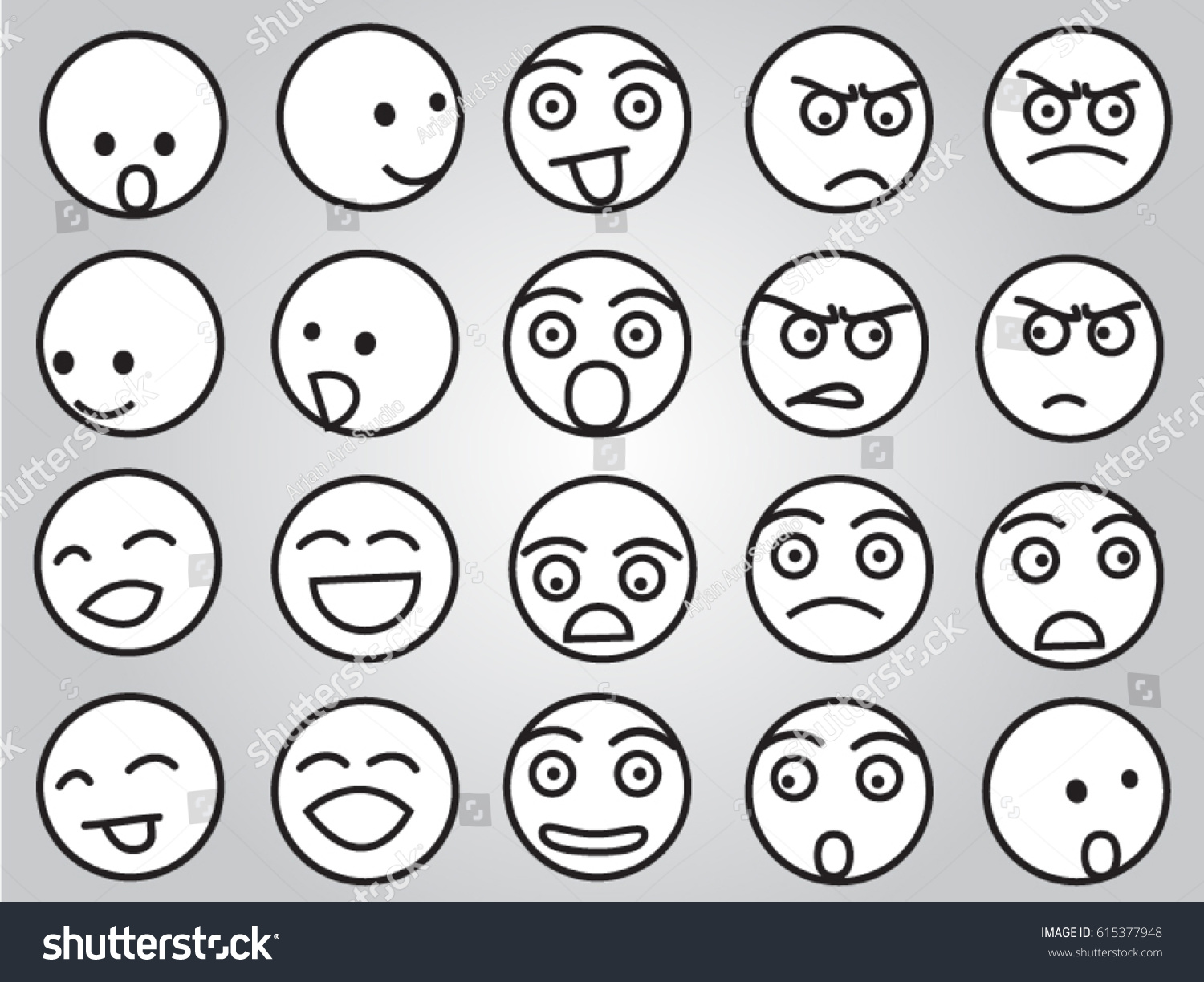 Worksheets Emotion Faces emotion faces black white stock vector 615377948 shutterstock in and white
