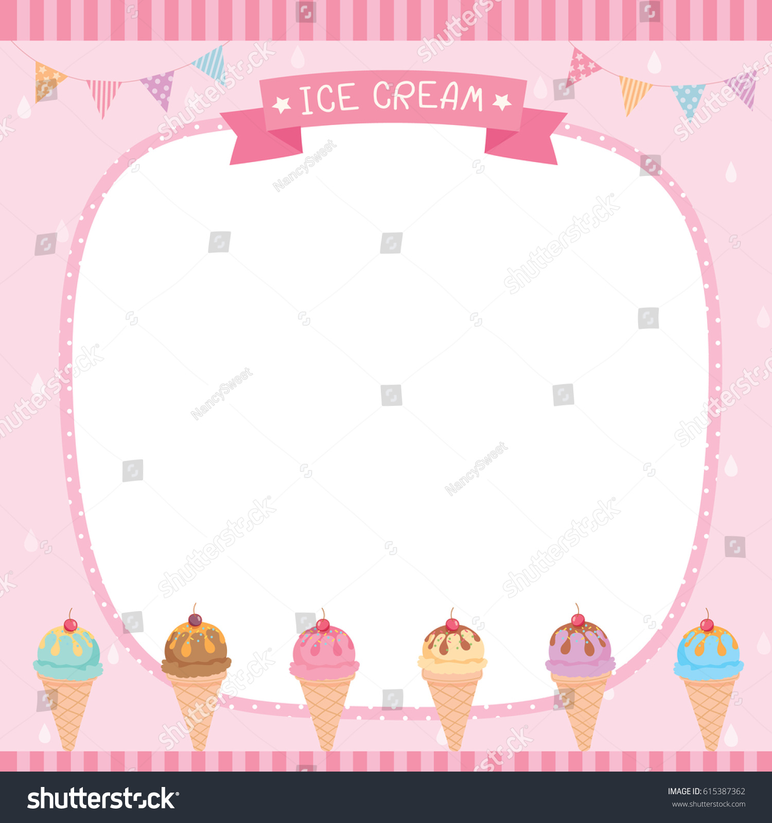 Ice Cream Cones Background Royalty Free Vector Image: Ice Cream Cone Menu Template Pink Stock Vector 615387362
