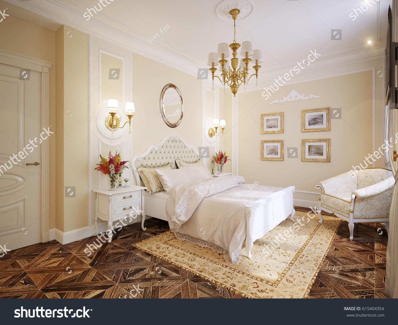 Luxury Classic Modern Bedroom Interior Design with Beige Walls Gold  Accessories White Furniture  3d rendering. Luxury Classic Modern Bedroom Interior Design Stock Illustration