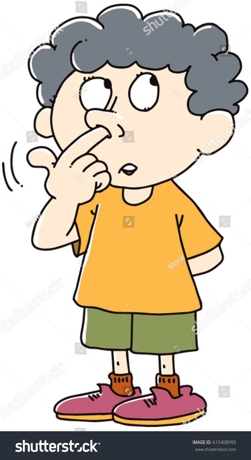 Kid Picks His Nose Stock Vector (Royalty Free) 615408995 - Shutterstock
