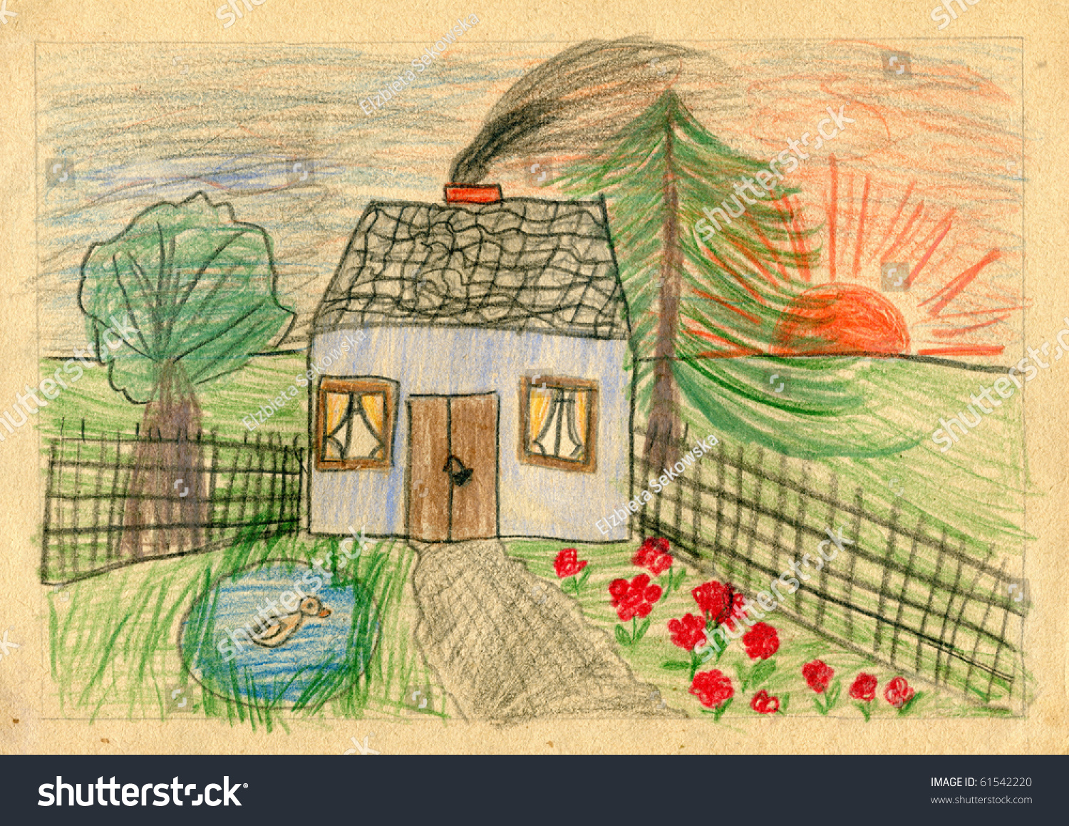 Authentic child drawing house my dreams1960 stock for My dream house drawing