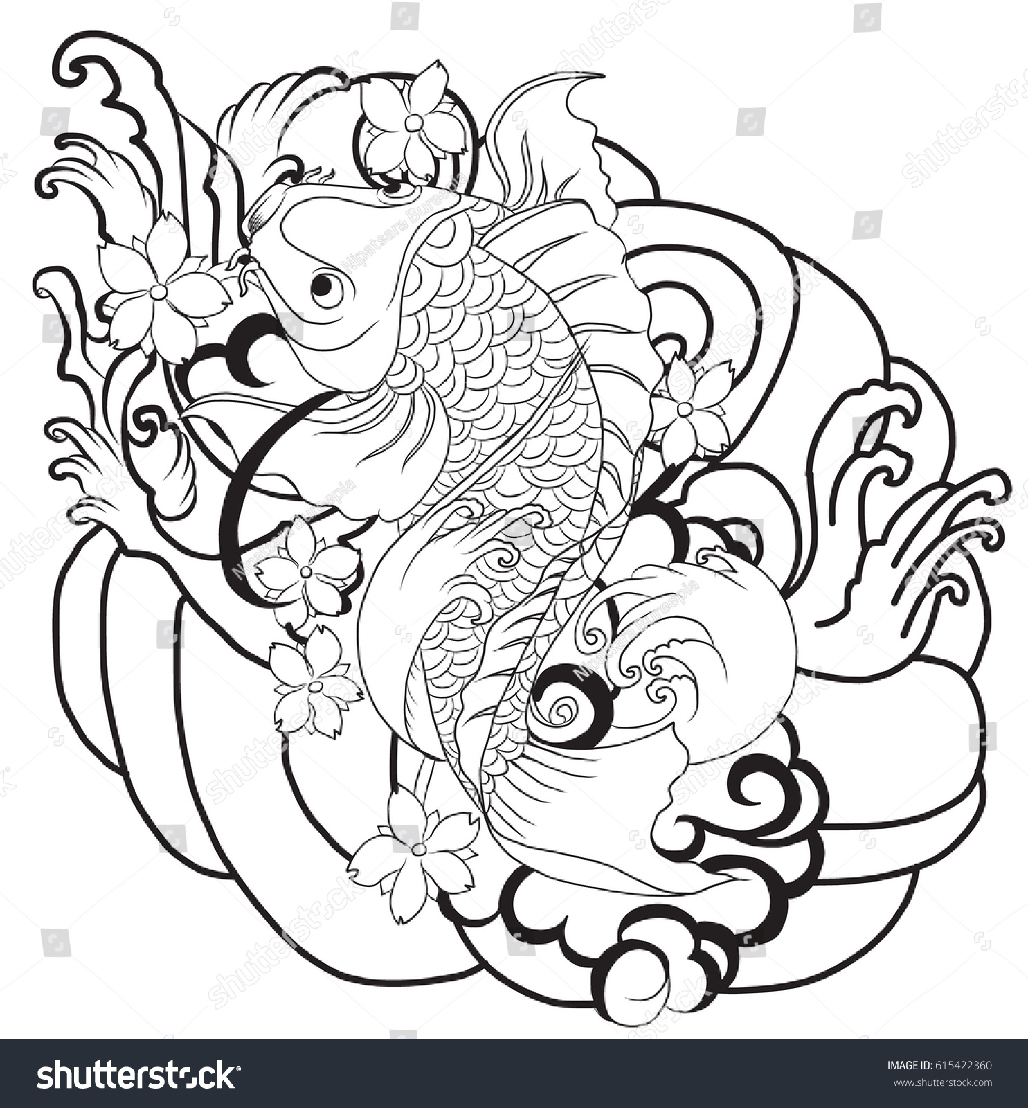 Hand Drawn Outline Koi Fish Tattoo With Flower Japanese Carp Line Drawing Coloring Book Vector