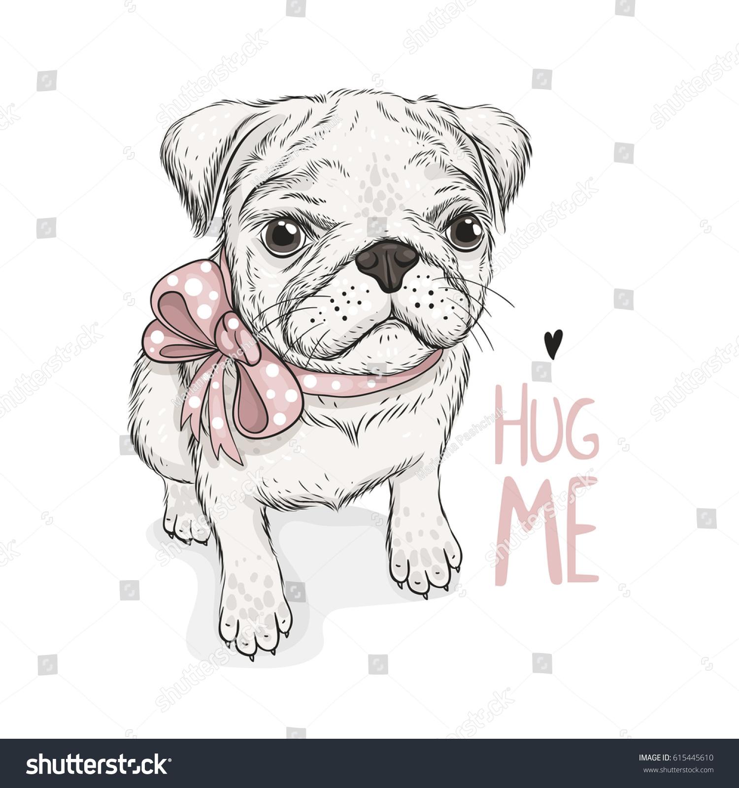 puppy pug bow phrase hug me stock vector 615445610 shutterstock