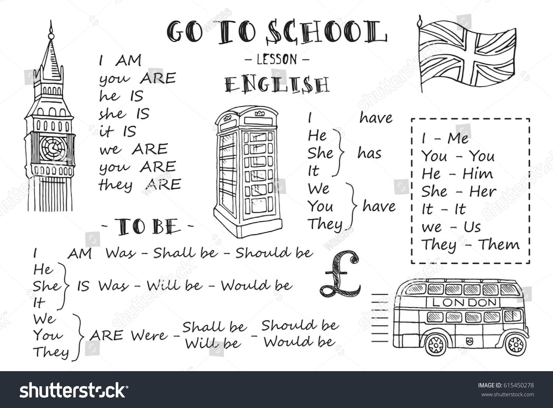 english hand sketches on theme english stock vector 615450278