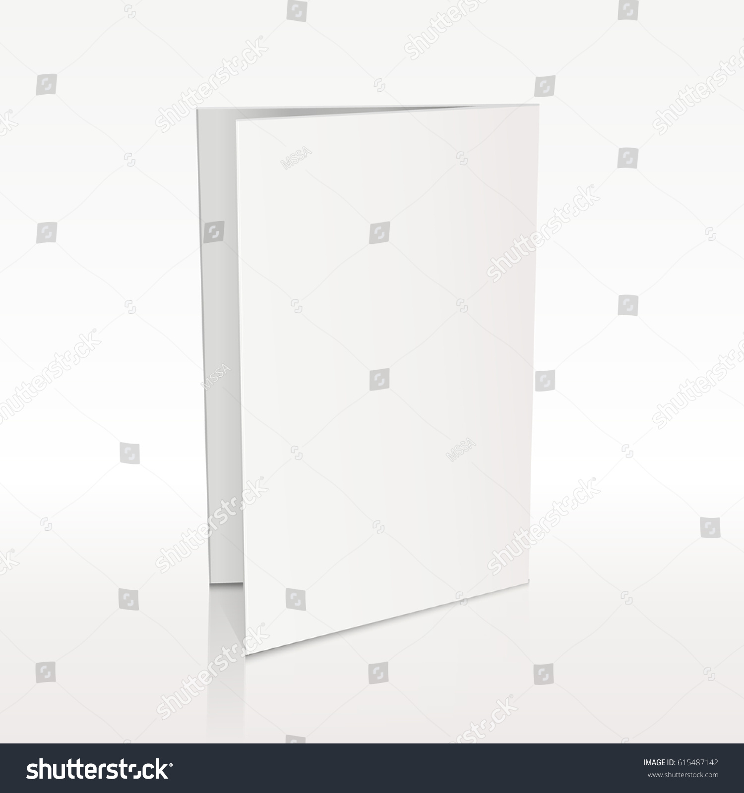 Blank Folder White Leaflet Vector 3d Stock Vector