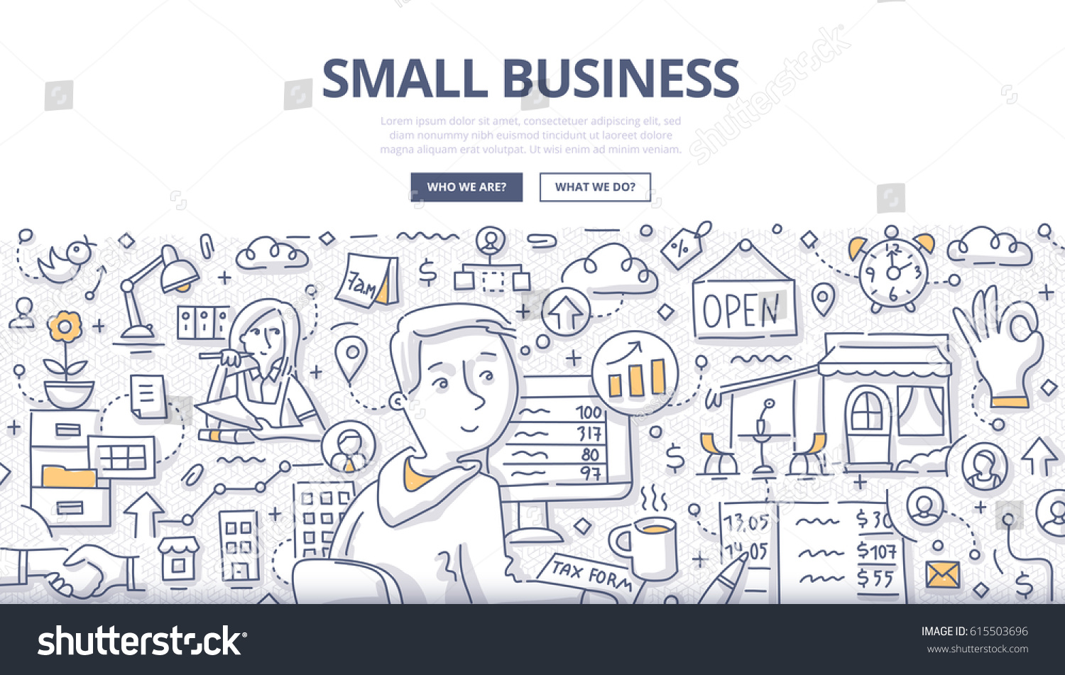 Doodle Vector Illustration Small Business Owner Stock Vector ...
