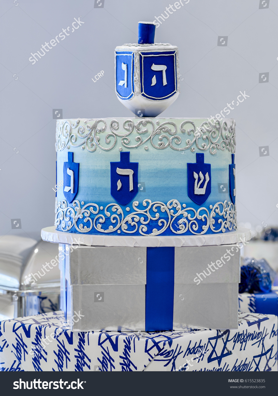 Bright Festive Chanukah Hanukkah Cake Centrepiece Stock Photo 100