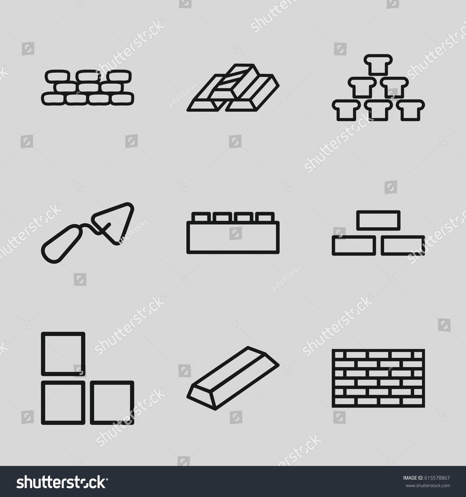 Brick Icons Set Set 9 Brick Stock-Vektorgrafik 615578867 – Shutterstock