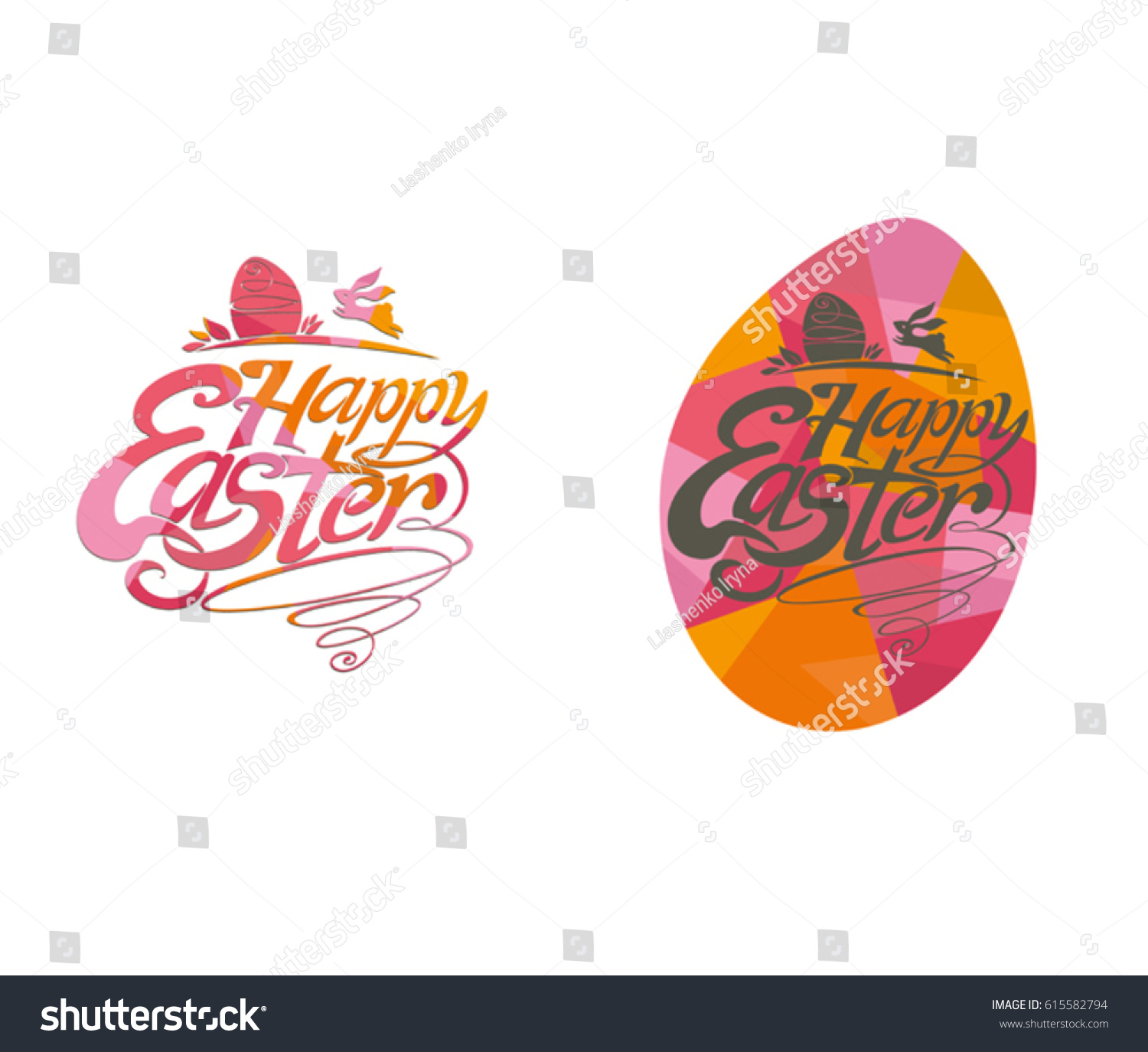 Happy easter lettering templates easter bunnies stock vector happy easter lettering templates easter bunnies and gift eggs vector label negle Image collections