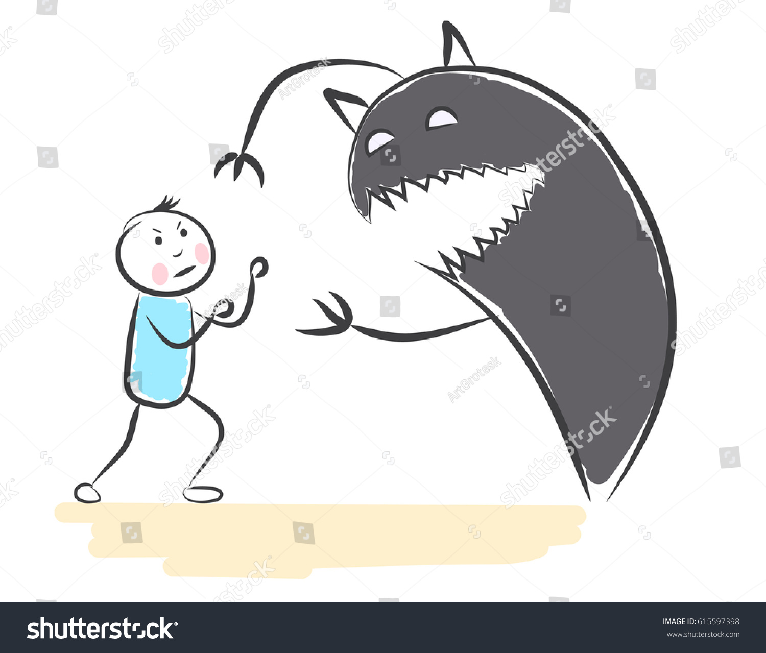 hand drawn people terrible shadow monster stock vector royalty free