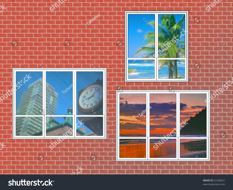 three windows with different destinations views on brick wall. Illustration