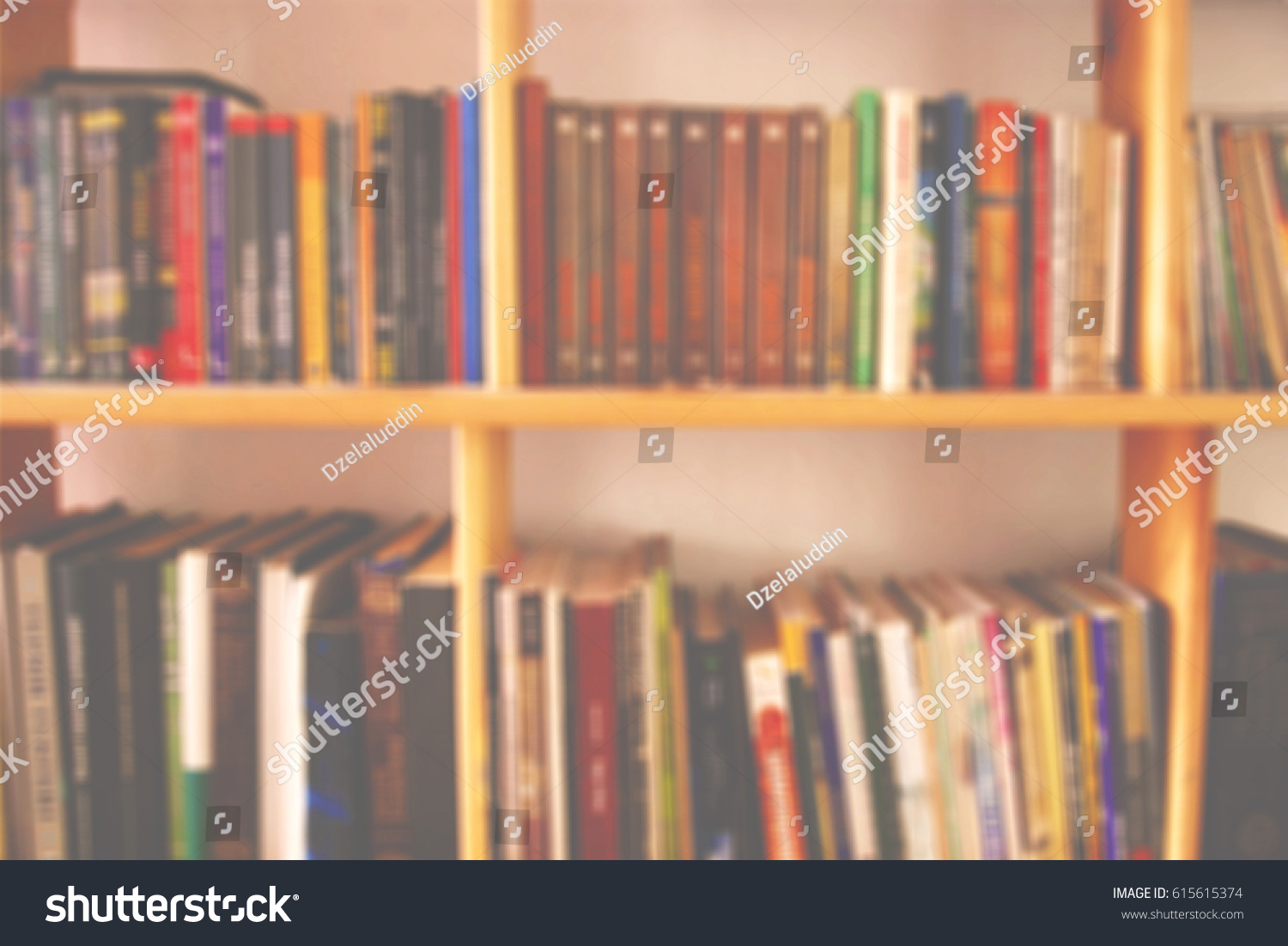 Bookshelf Books Background Blur Stock Photo Royalty