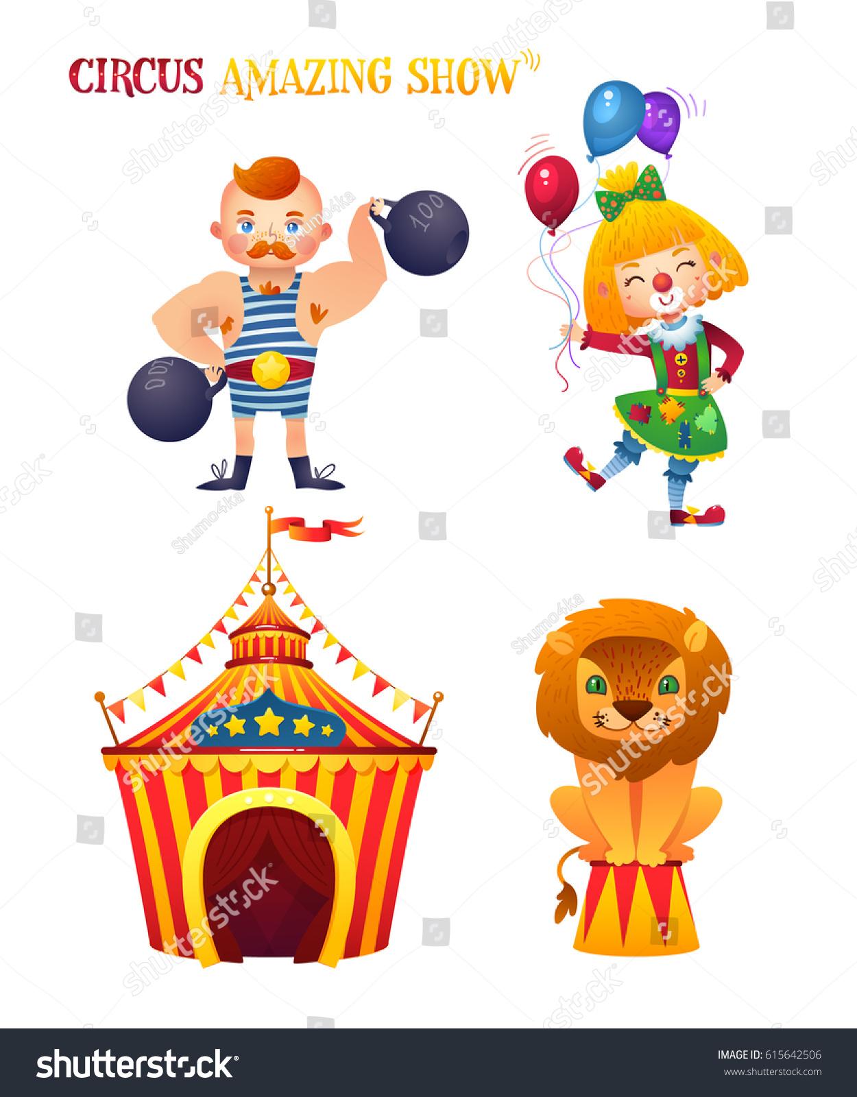 100 Pictures Cartoon Characters circus cartoon characters set clowness strongman stock
