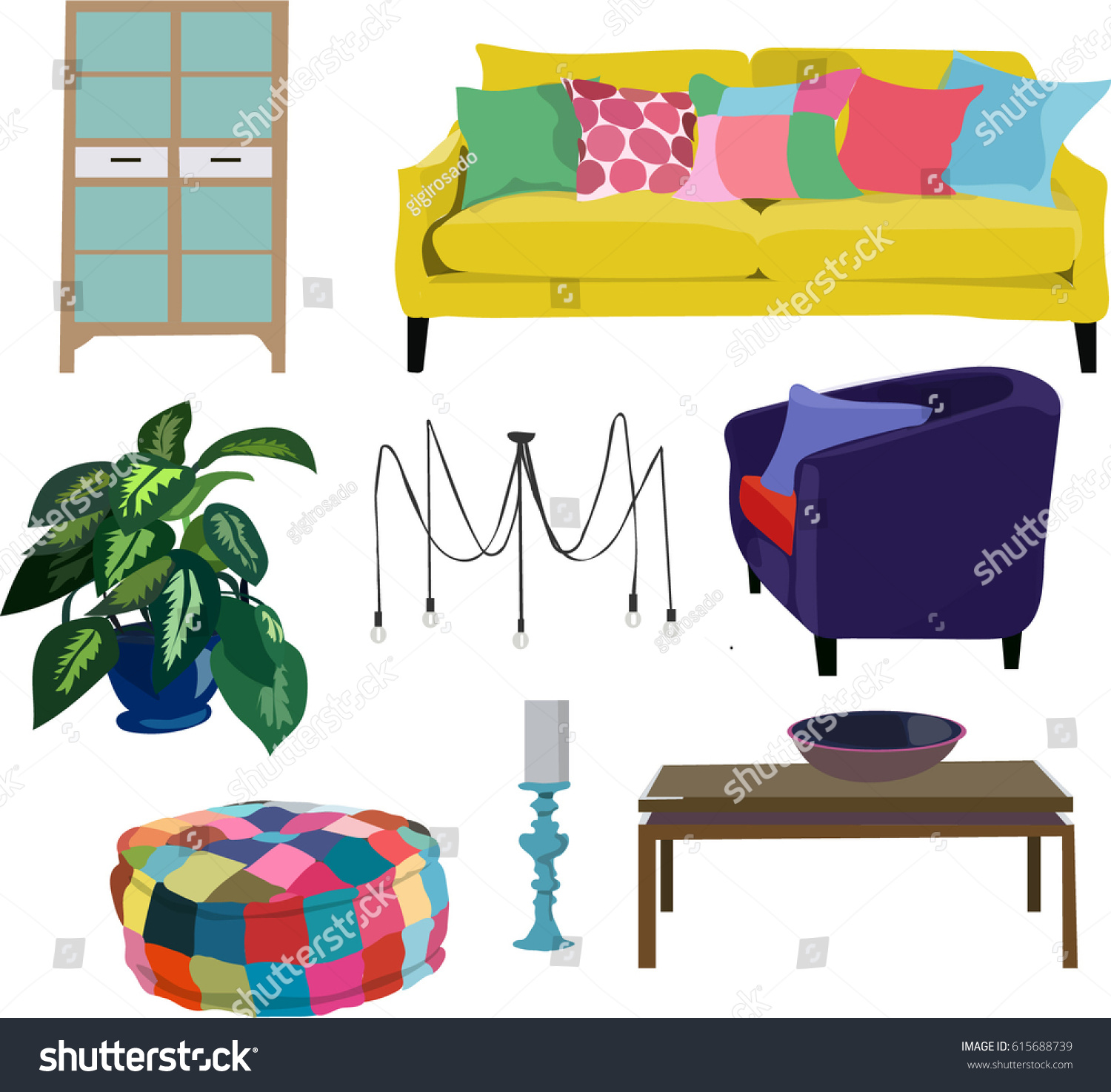 Furniture Ideas For Living Room Stock Vector: Living Room Realistic Furniture Set Collectionbeautiful