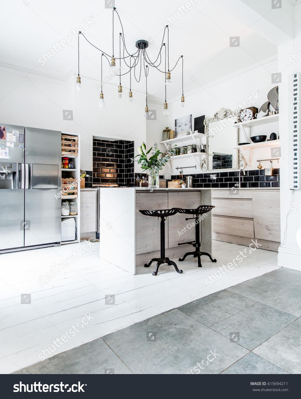 Open Plan Living Modern Designer Kitchen Stock Photo (Safe to Use ...