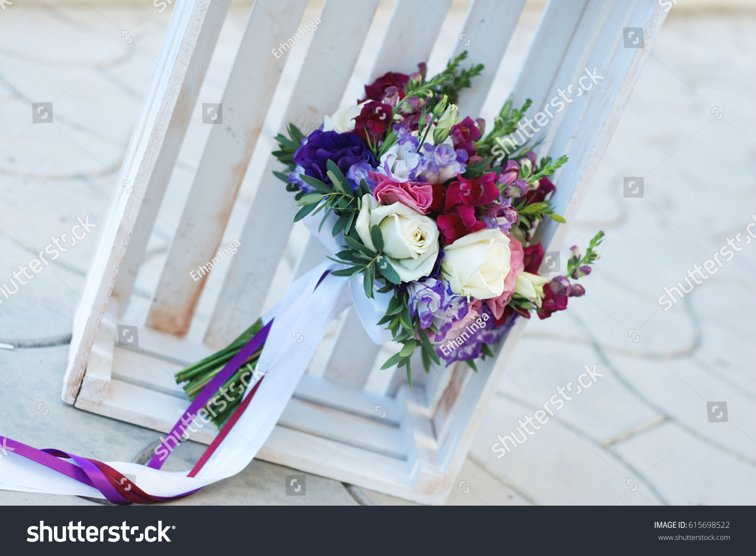 Bridal Wedding Bouquet Flowers White And Violet Ez Canvas