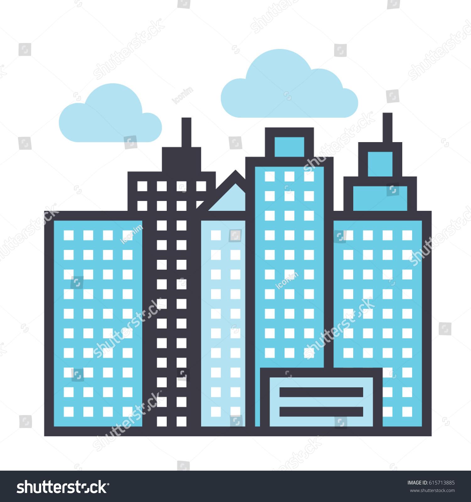 city landscape icon symbol town building stock vector 615713885 rh shutterstock com vector building dayz vector building silhouette