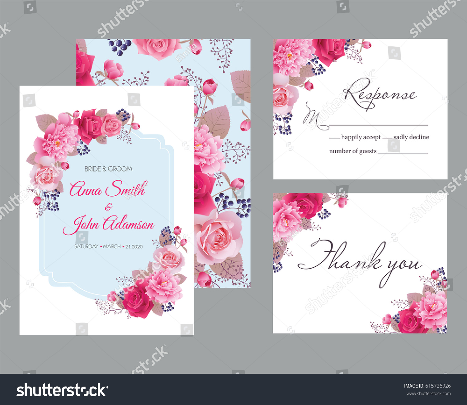 Wedding Floral Template Collection Wedding Invitation Thank Stock ...