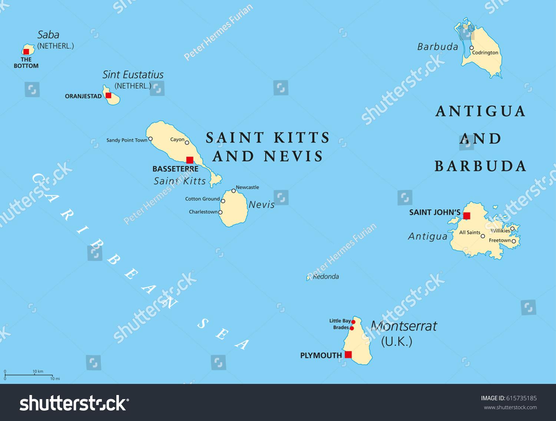 Saint Kitts Nevis Antigua Barbuda Montserrat Stock Vector 615735185