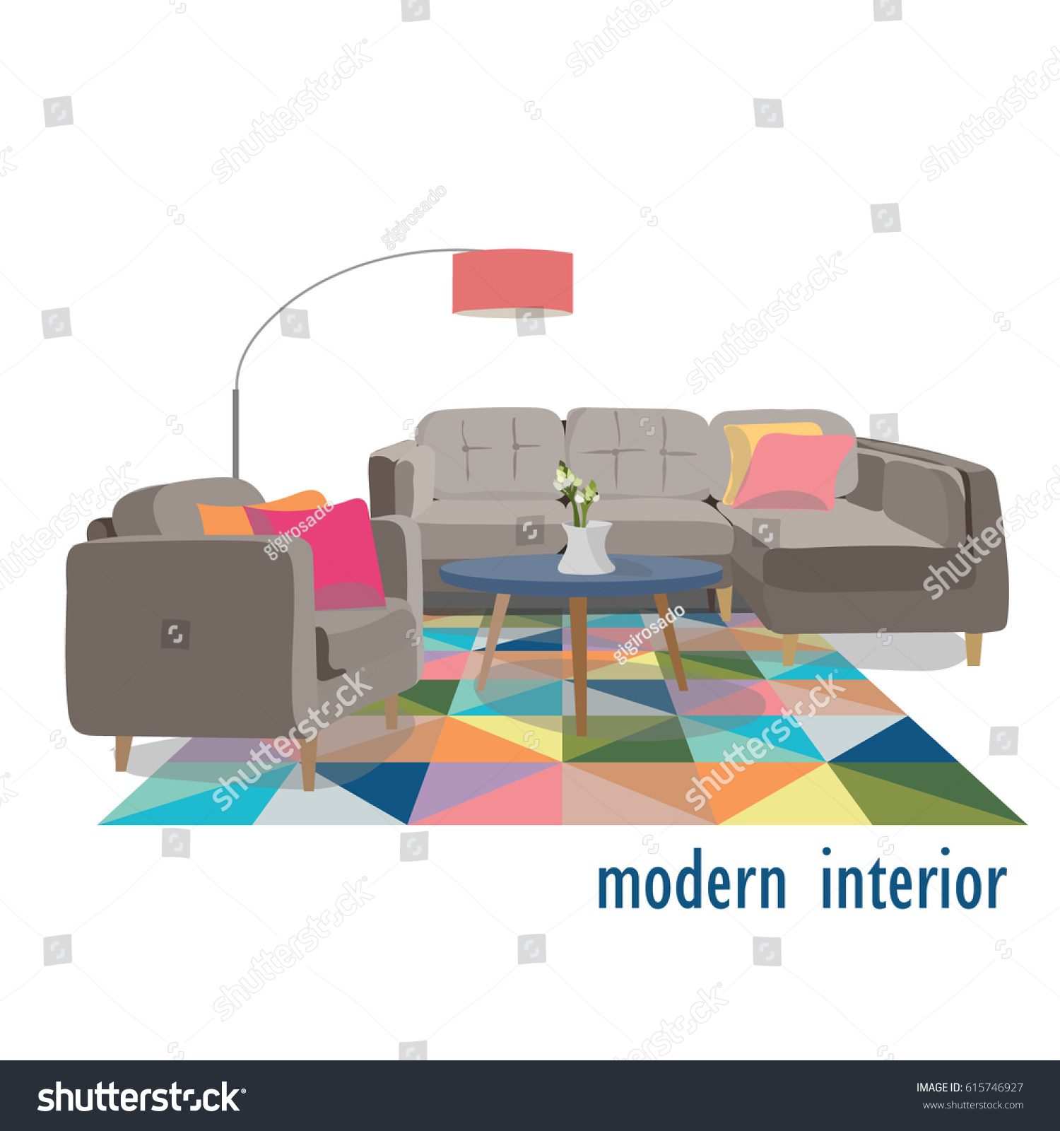 Modern living room illustrationhome interior design stock vector 615746927 shutterstock - Pretty stylish armchair design for your beautiful house interior ...