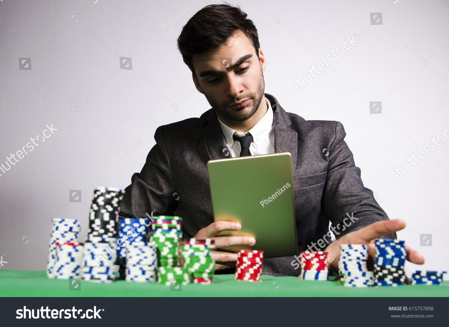 Serious Professional Online Poker Player Stock Photo Edit Now 615757898
