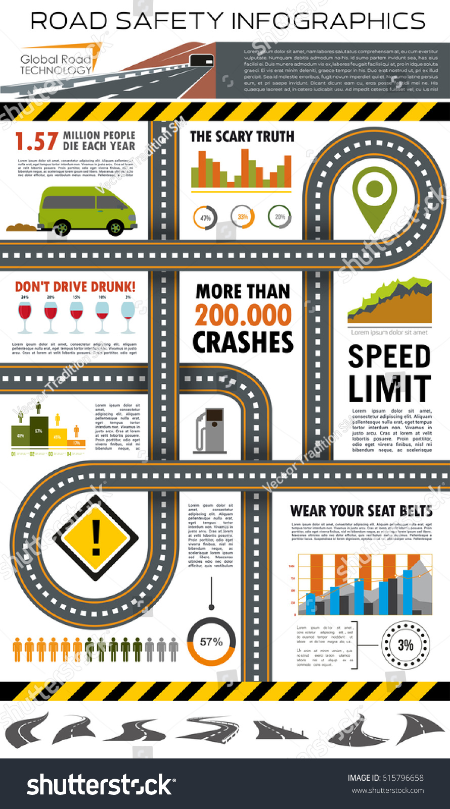 accident statistics template - road traffic safety infographic template highway stock