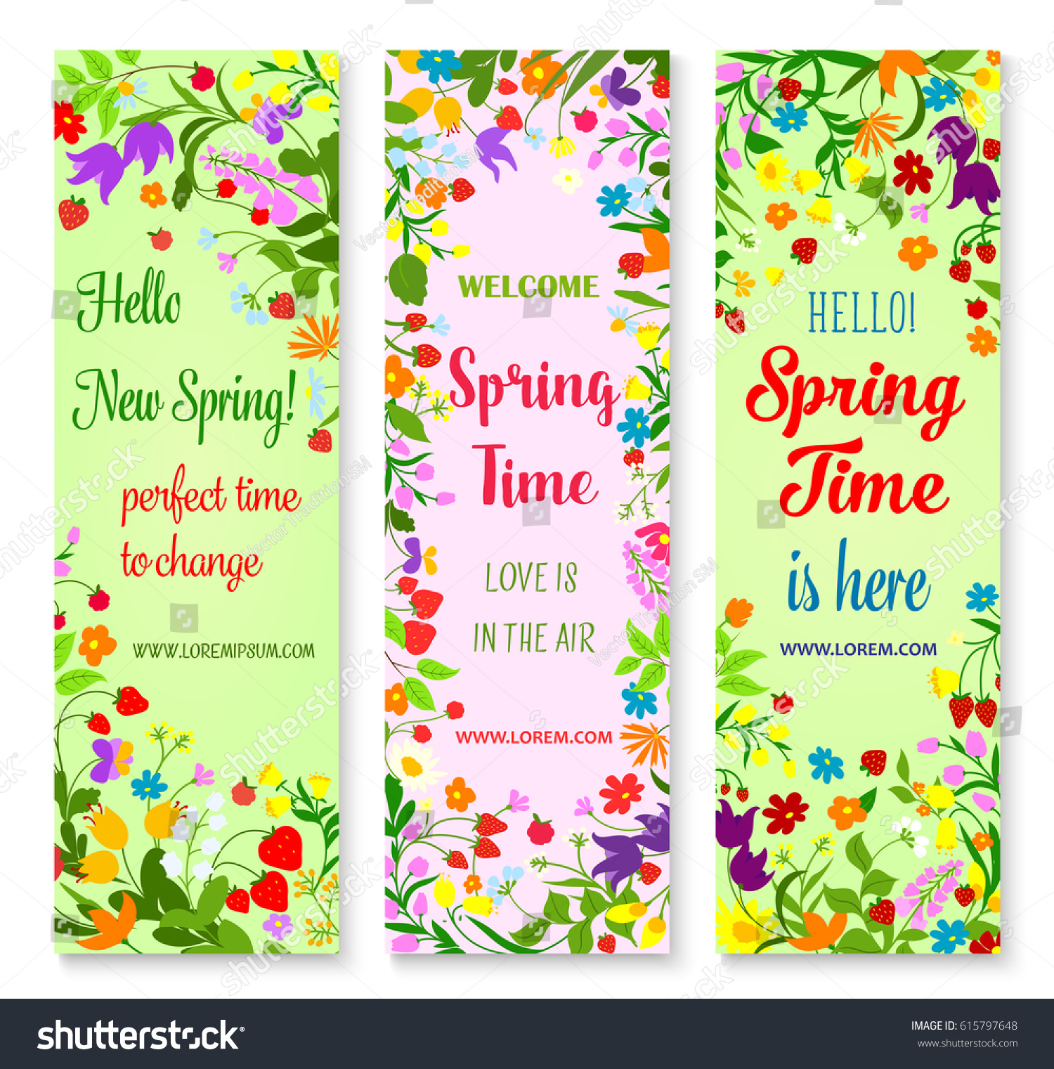 Hello Spring Greetings Flowers Vector Banners Stock Vector Royalty