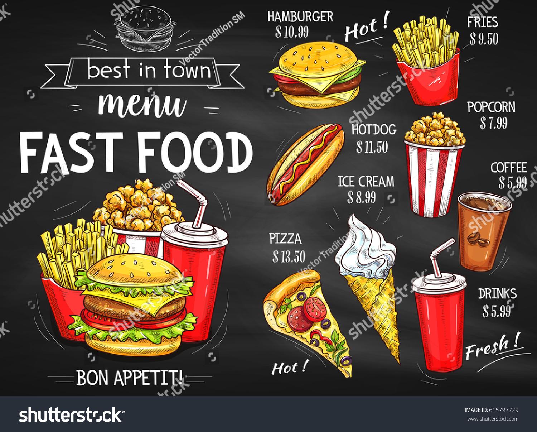 Fast Food Restaurant Menu Chalkboard Stock Photo