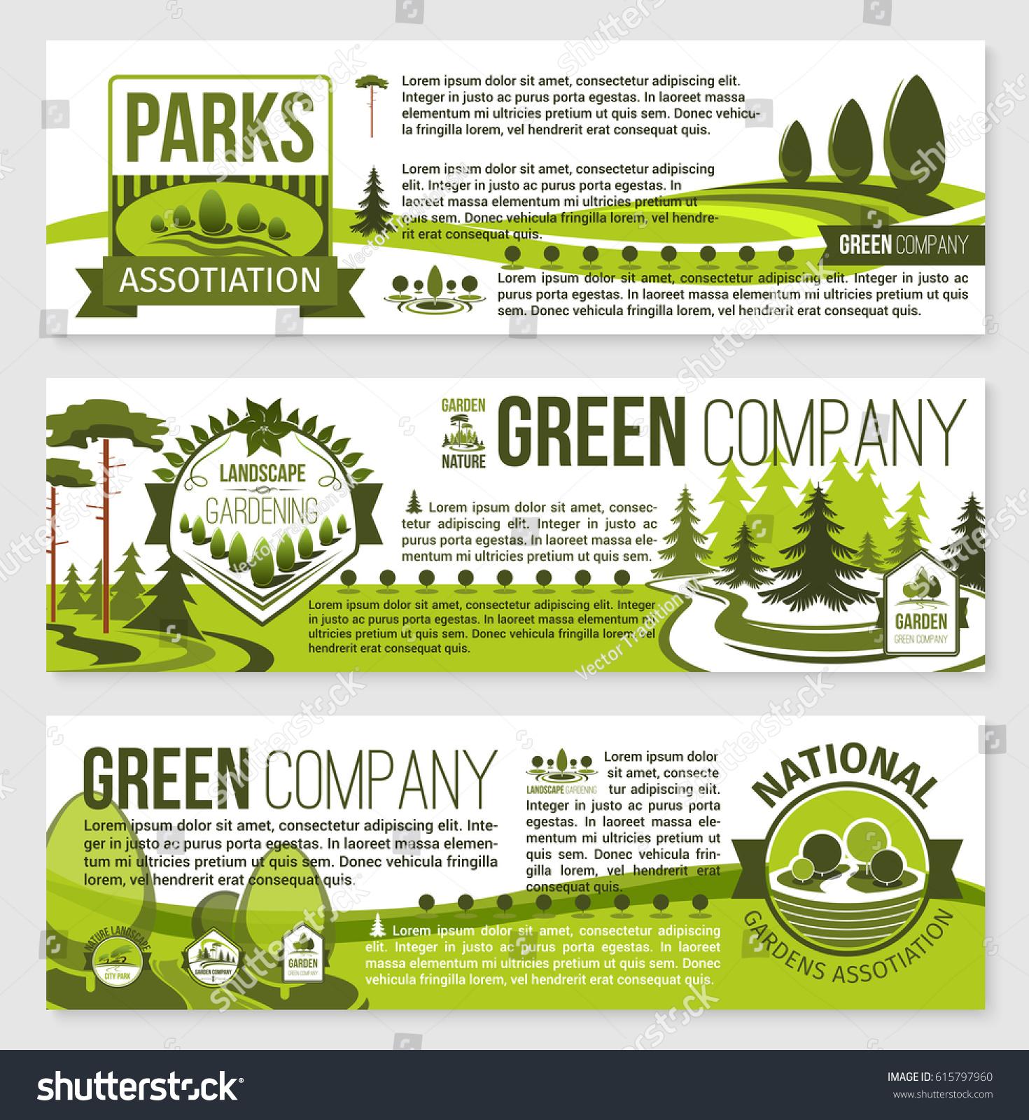 landscaping landscape architecture banner template set stock vector