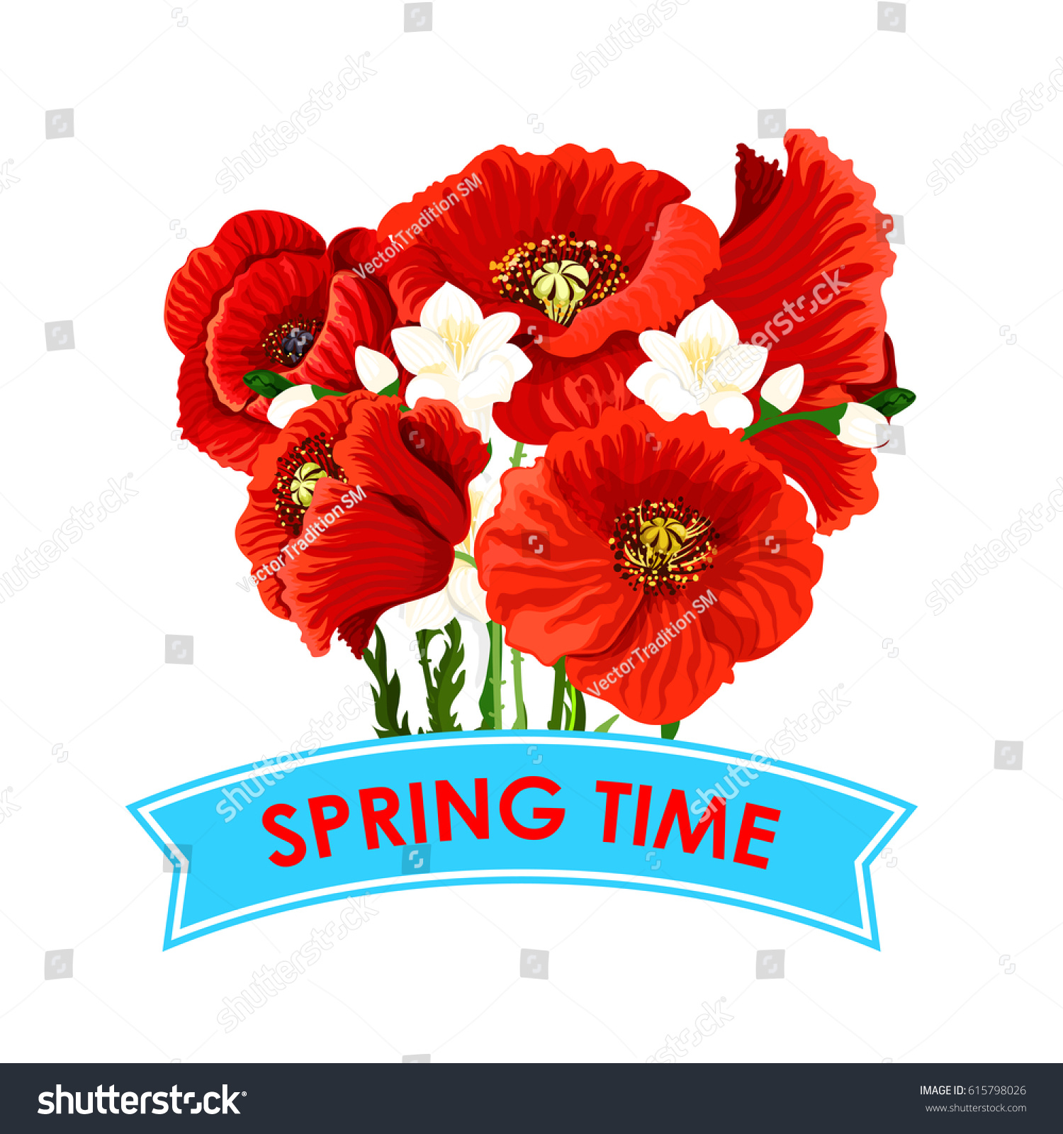Spring Time Quote Poppy Flowers Bunch Stock Vector Royalty Free