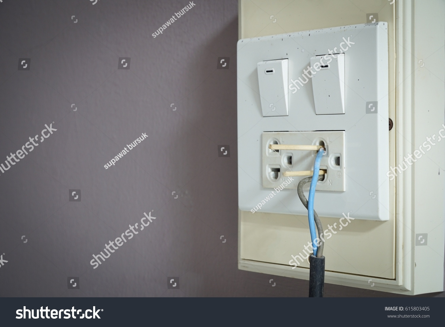 Badly Wired Plug Showing Bad Wrong Stock Photo (Edit Now) 615803405 ...