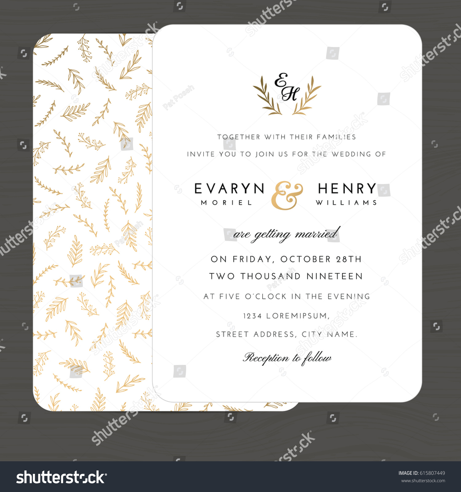 Modern white gold colors wedding invitation stock vector 615807449 modern white and gold colors wedding invitation card template decorate with hand drawn leaves floral pattern stopboris Images