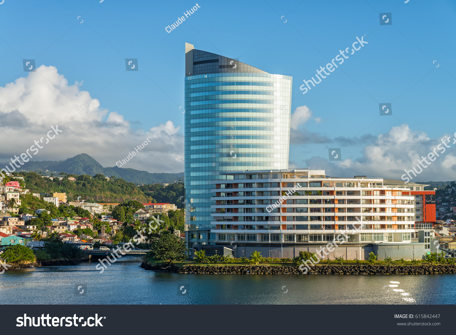 FORT-DE-FRANCE, MARTINIQUE - JANUARY 24, 2017: Business Center Pointe Simon which includes the Lumina Tower, a 21-story office building, a 40-unit condominium building and the 7-story Simon Hotel.