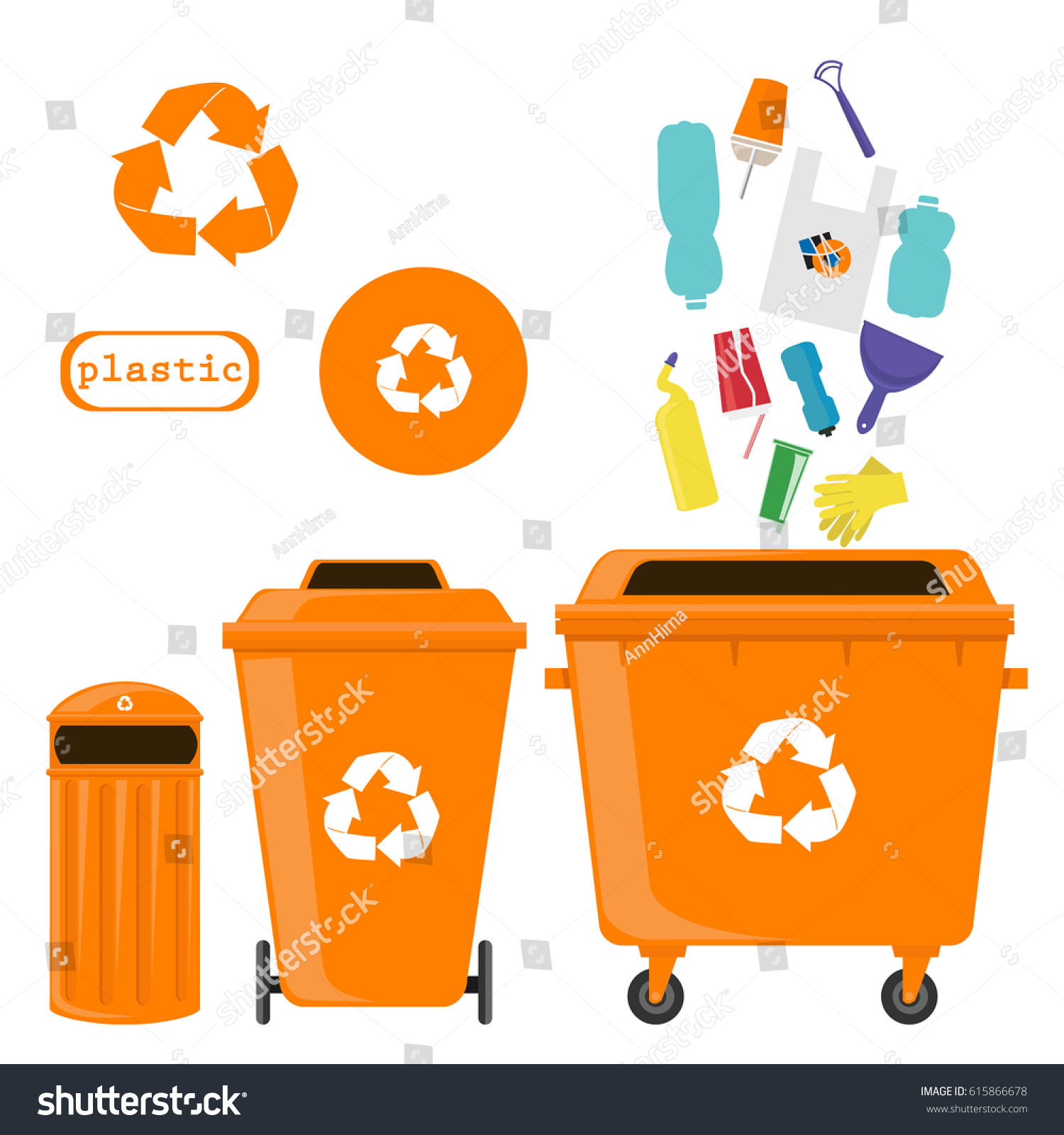 Sorting Waste Recycling Plastic Symbols Types Stock Vector Royalty