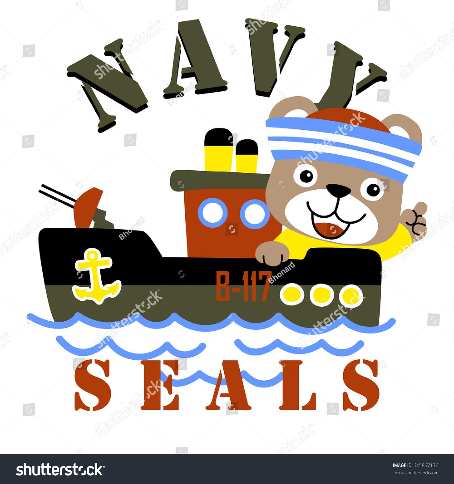 Shirt design wallpaper - Cute Bear The Navy Seals Vector Cartoon Kids T Shirt Design Wallpaper
