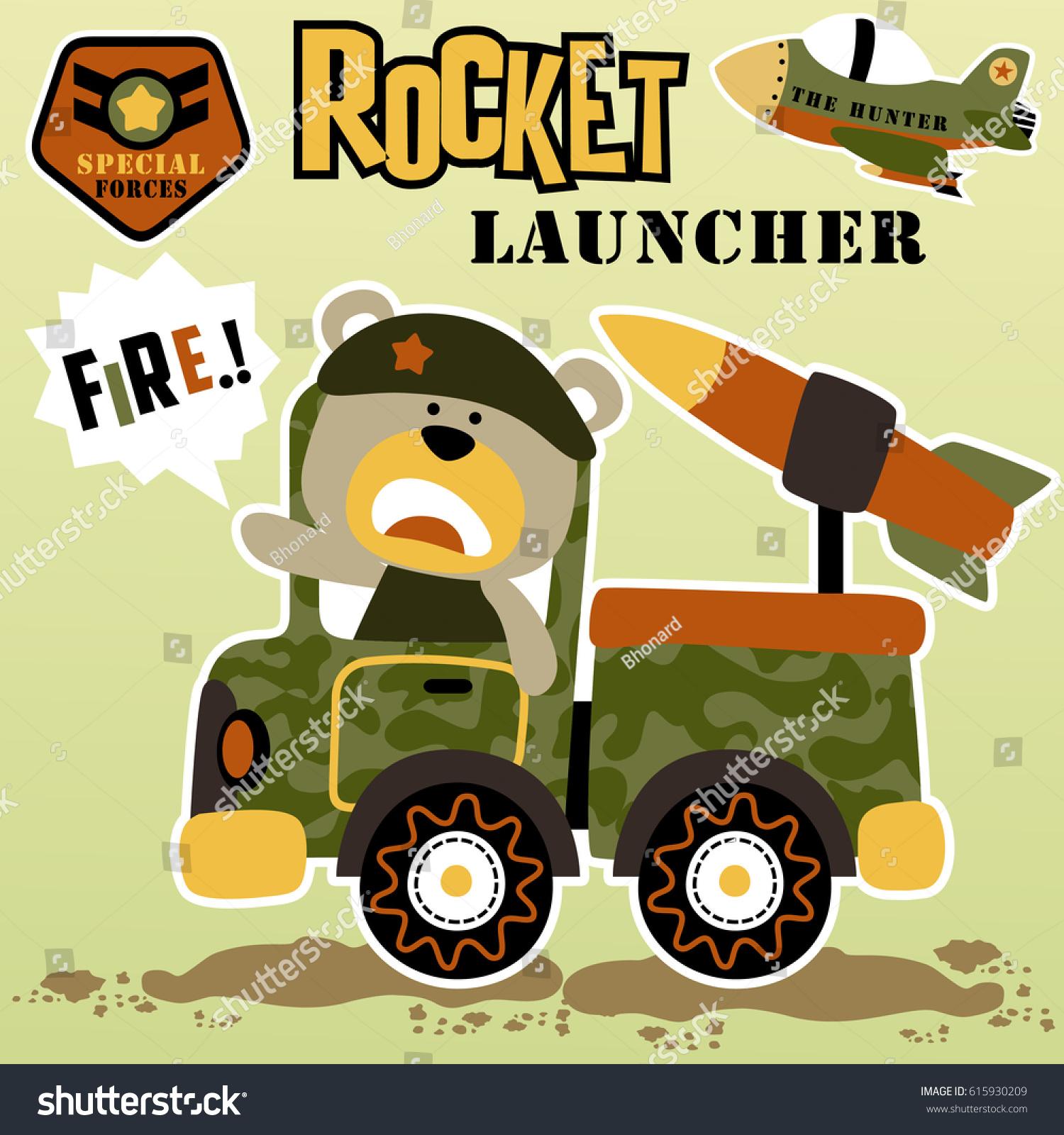 Shirt design wallpaper - Bear In Rocket Launcher Military Truck Vector Cartoon Kids T Shirt Design Wallpaper