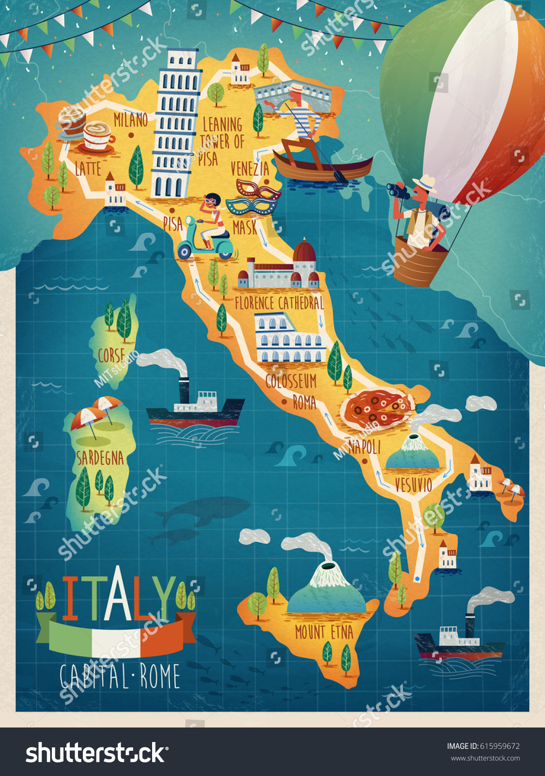 Colorful Italy Travel Map Attraction Symbols Stock Vector - Mount vesuvius map
