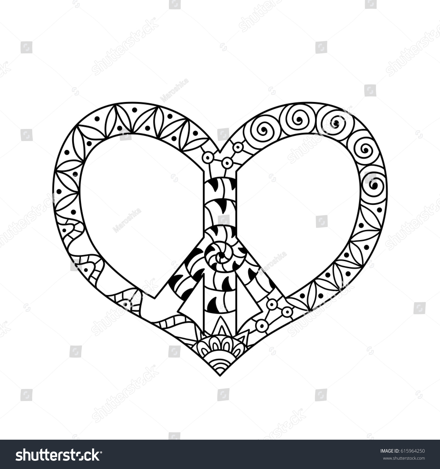 Hand Drawn Hippie Peace Symbol Heart Stock Vector HD (Royalty Free ...
