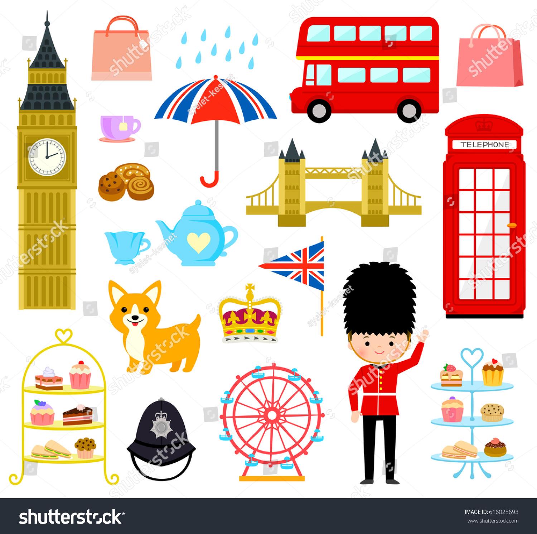 Set Cute Cartoons Related London England Stock-Vektorgrafik ...