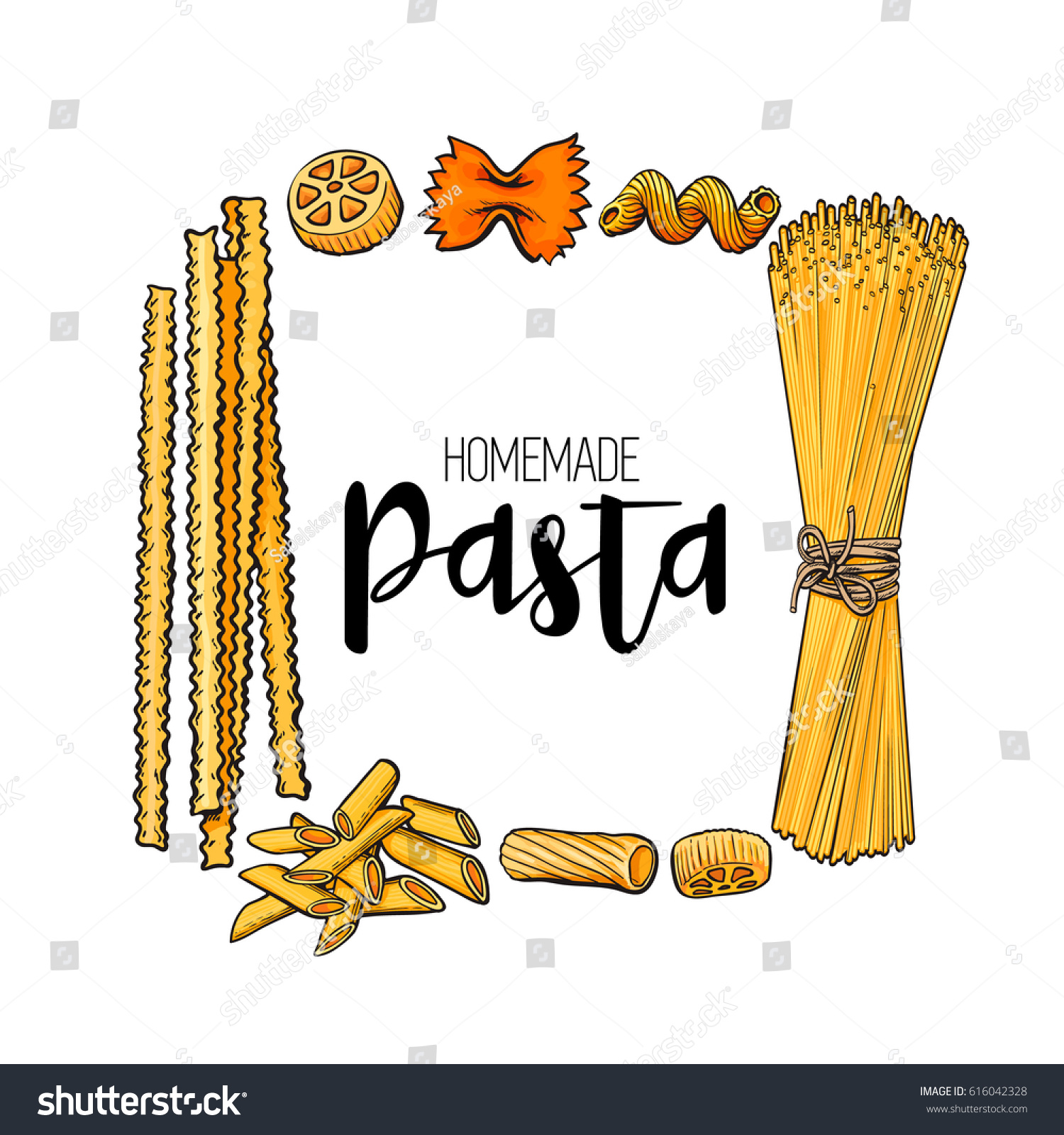 Square Frame Uncooked Italian Pasta Place Stock Vector Royalty Free