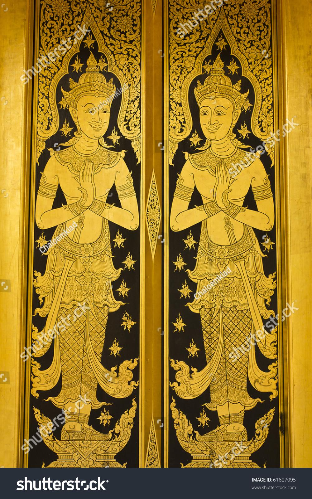thai gold lacquer gilt temple door detail. THIS IMAGE IS PUBLIC DOMAIN FROM A THAI & Thai Gold Lacquer Gilt Temple Door Stock Photo 61607095 - Shutterstock Pezcame.Com