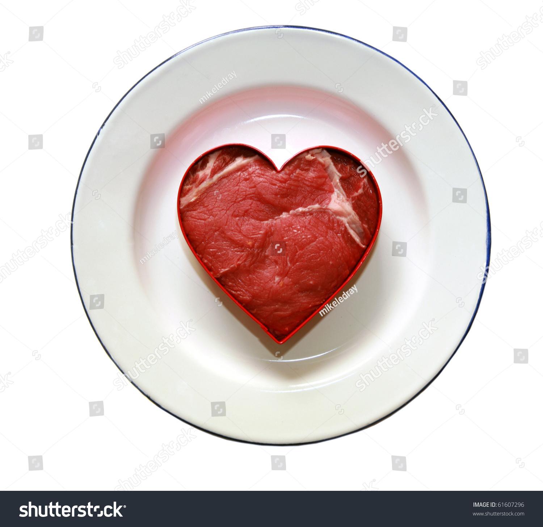 Fresh Raw Rib-Eye Steak Cut Into A Heart Shape, Isolated ...