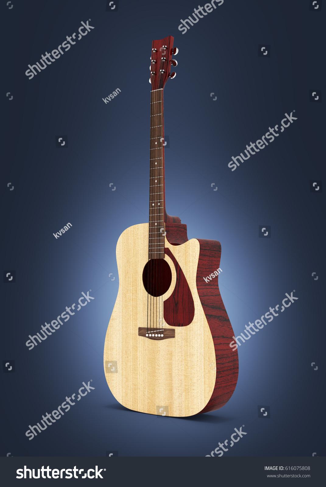Acoustic Guitar On Dark Blue Gradient Background 3d