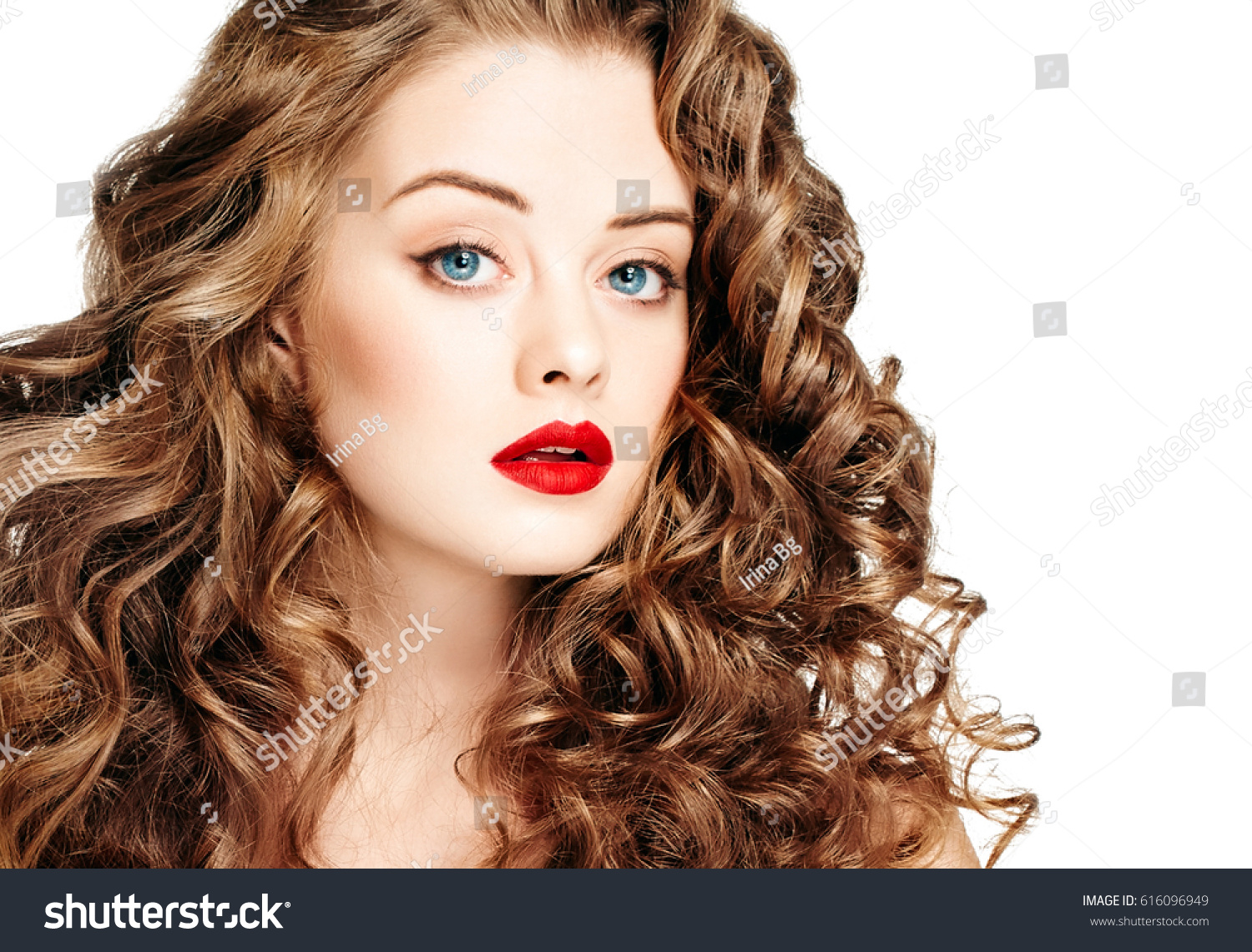 Beautiful People Curly Hair Red Lips Stock Photo Safe To Use