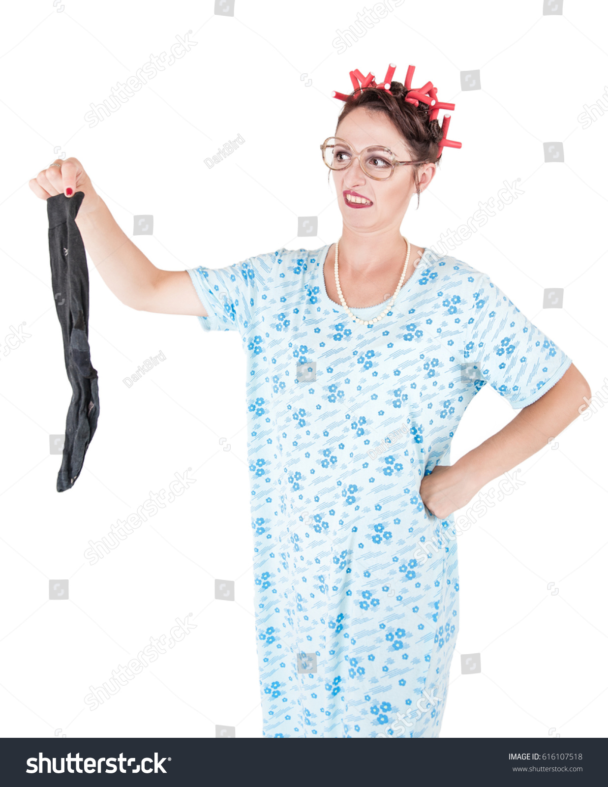Funny Stereotypical Housewife Man Sock Bad Stock Photo (Royalty Free ...
