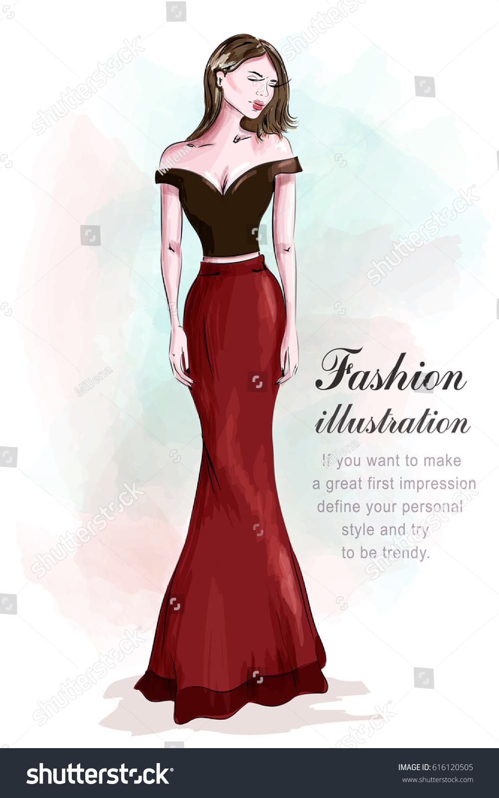 Fashion Beautiful Woman Romantic Evening Dress Stock Vector Royalty Free 616120505