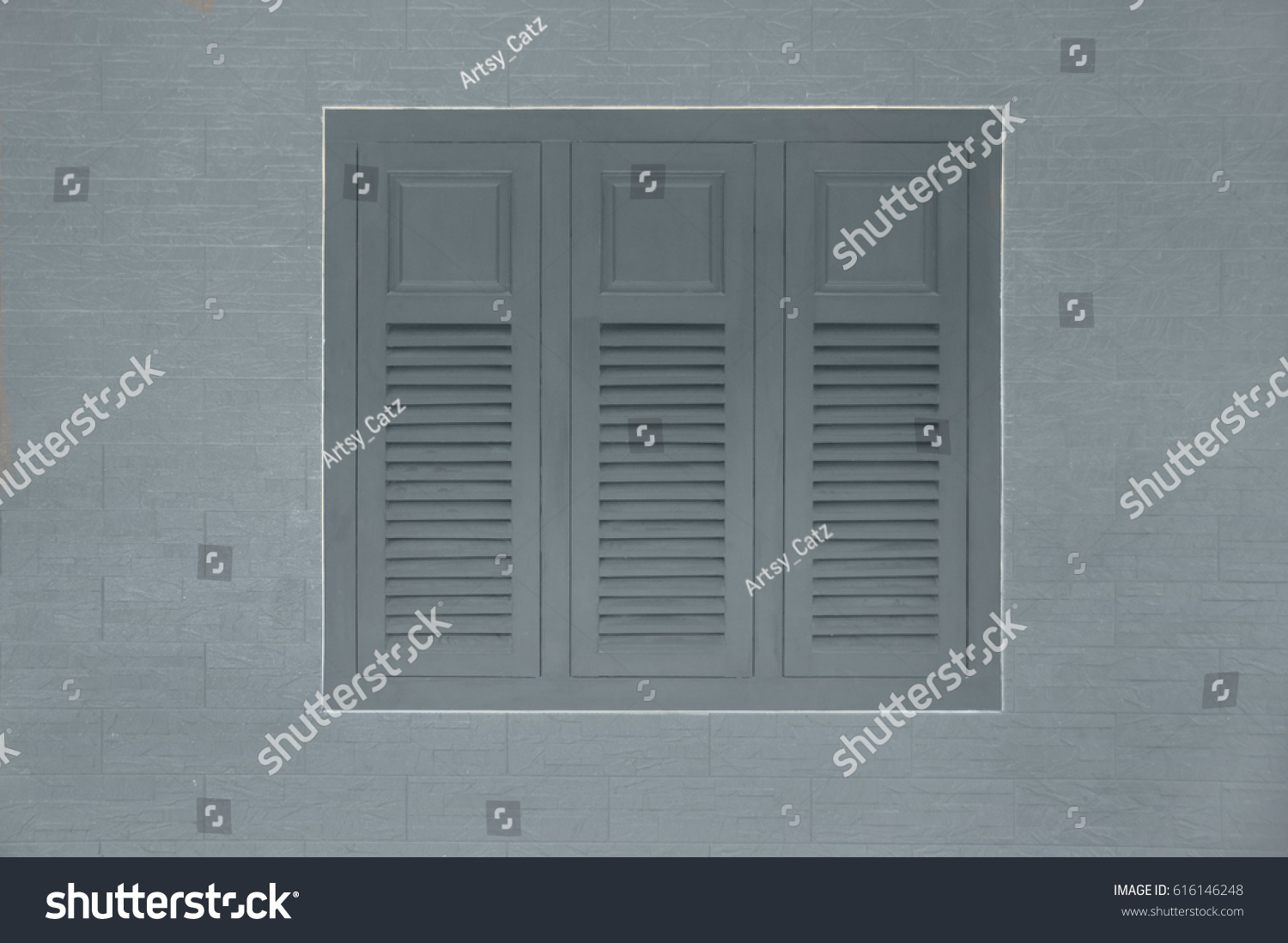 Closed Window Shutters On Tiled Wall Stock Photo (Royalty Free ...